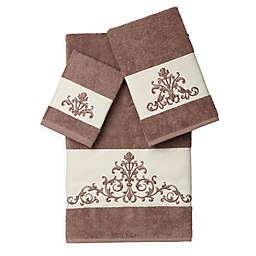 Linum Home Textiles Scarlet Embellished Bath Towels in Latte (Set of 3)