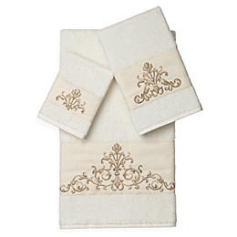 Linum Home Textiles Scarlet Embellished Bath Towels (Set of 3)