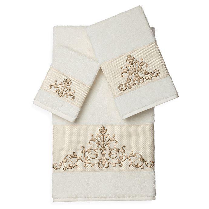 Alternate image 1 for Linum Home Textiles SCARLET Embellished Bath Towels in Cream (Set of 3)