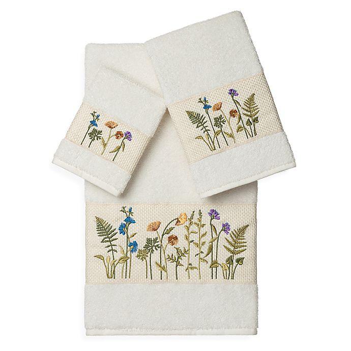 Alternate image 1 for Linum Home Textiles SERENITY Embellished Bath Towels in Cream (Set of 3)