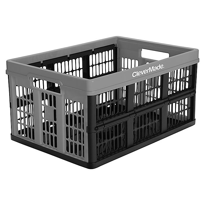 Alternate image 1 for CleverMade® CleverCrate 45-Liter Collapsible Utility Crate in Grey