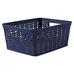 Starplast Plastic Wicker Small Storage Basket in Peacoat