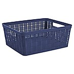 Starplast Medium Plastic Wicker Storage Basket in Peacoat
