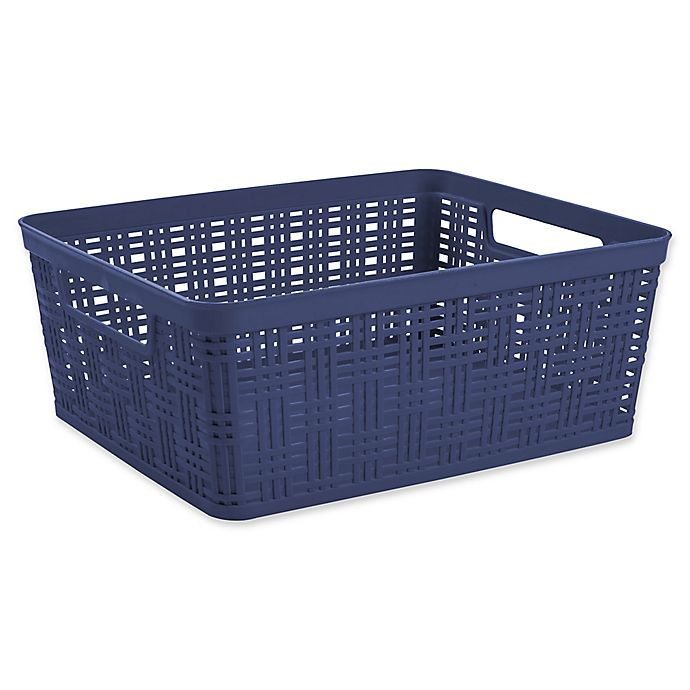 Alternate image 1 for Starplast Plastic Wicker Medium Storage Basket in Peacoat
