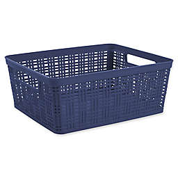 Starplast Plastic Wicker Medium Storage Basket in Peacoat