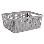 Starplast Medium Plastic Wicker Storage Basket in Grey