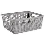 Medium Plastic Wicker Storage Basket in Grey