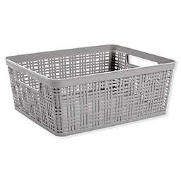 Starplast Plastic Wicker Medium Storage Basket in Grey