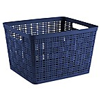 Starplast Large Plastic Wicker Storage Basket in Peacoat