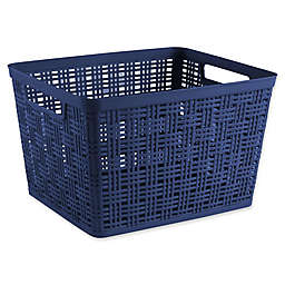 Starplast Plastic Wicker Large Storage Basket in Peacoat