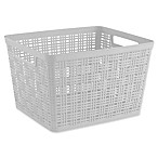 Starplast Large Plastic Wicker Storage Basket in White