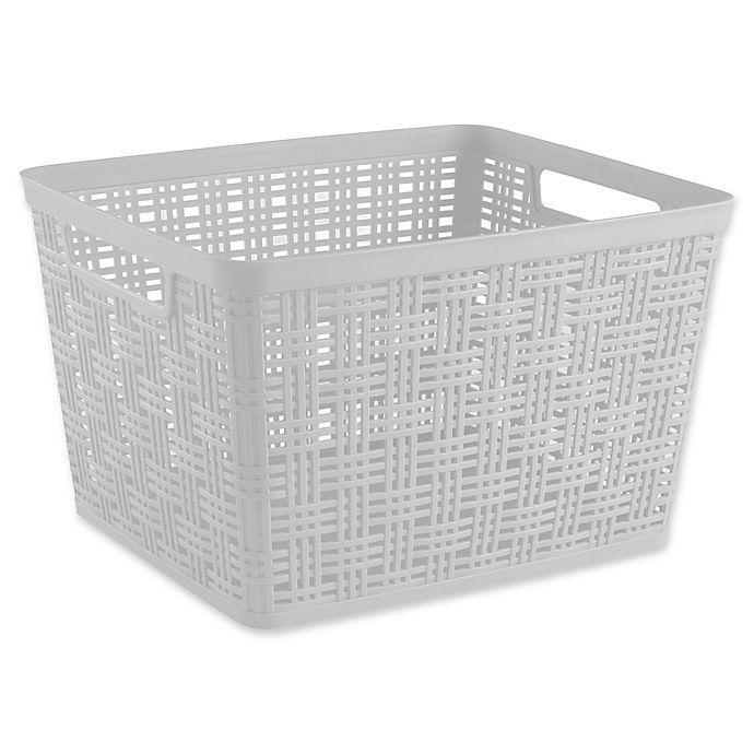 Alternate image 1 for Starplast Plastic Wicker Large Storage Basket in White