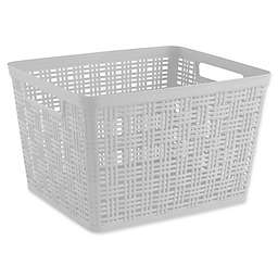 Starplast Plastic Wicker Large Storage Basket in White