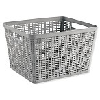 Starplast Large Plastic Wicker Storage Basket in Grey