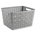 Large Plastic Wicker Storage Basket in Grey