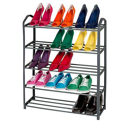 Smart Design 15-Pair 5-Tier Shoe Rack in Grey