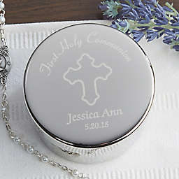 Communion Engraved Rosary Case in Silver