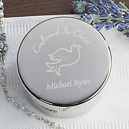 Confirmation Engraved Rosary Case in Silver