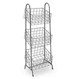 Linon Home 3-Basket Metal Stand in Steel Grey