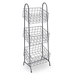 Linon Home 3-Basket Metal Stand in Steel Grey