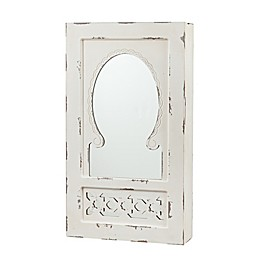 Southern Enterprises Gilmore Wall Mount Jewelry Mirror in Antique White