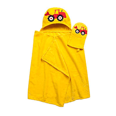 Tractor Hooded Bath Wrap with Mitt in Yellow