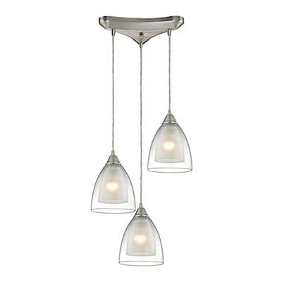 Elk Lighting Layers 3-Light Pendant in Satin Nickel with Glass Shades