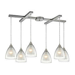 Elk Lighting Layers 6-Light Pendant in Satin Nickel with Glass Shades