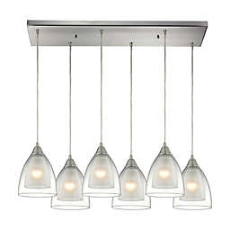 Elk Lighting Layers Linear 6-Light Pendant in Satin Nickel with Glass Shades