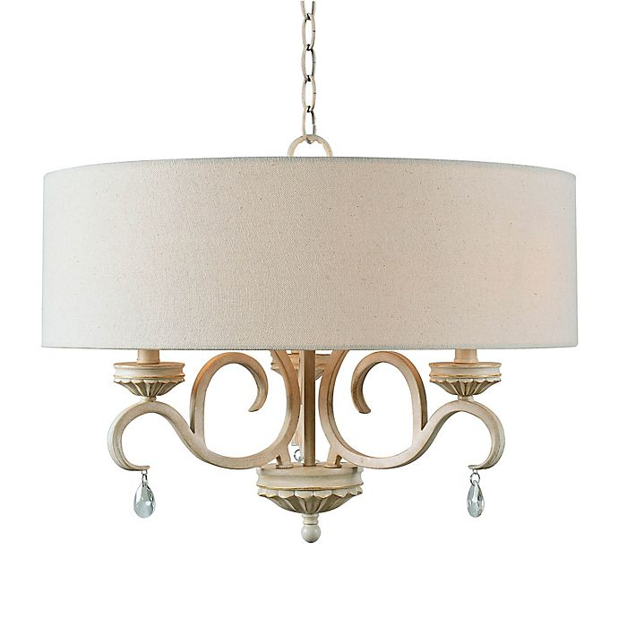 Alternate image 1 for Kenroy Home Marcella 3-Light Drum Chandelier in White/Gold