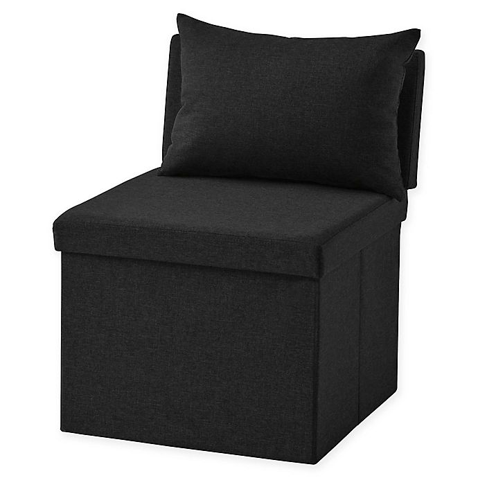 Alternate image 1 for Folding Ottoman Chair in Black