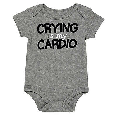 "Baby Starters® ""Crying Is My Cardio"" Bodysuit in Grey"
