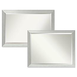 Amanti Art Bathroom Mirror in Brushed Sterling Silver