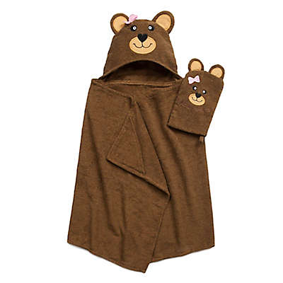 Bear Hooded Bath Wrap with Mitt in Brown