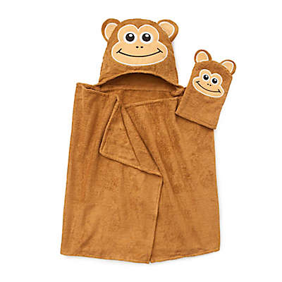 Monkey Hooded Bath Wrap with Mitt in Brown