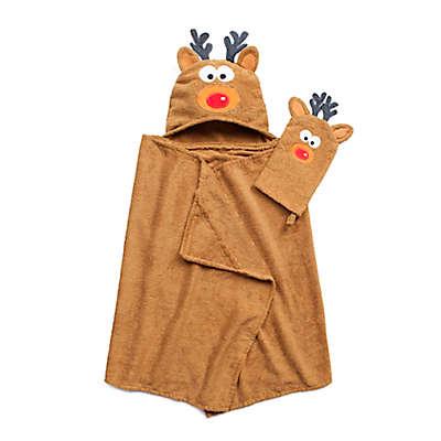 Reindeer Hooded Bath Wrap with Mitt in Brown