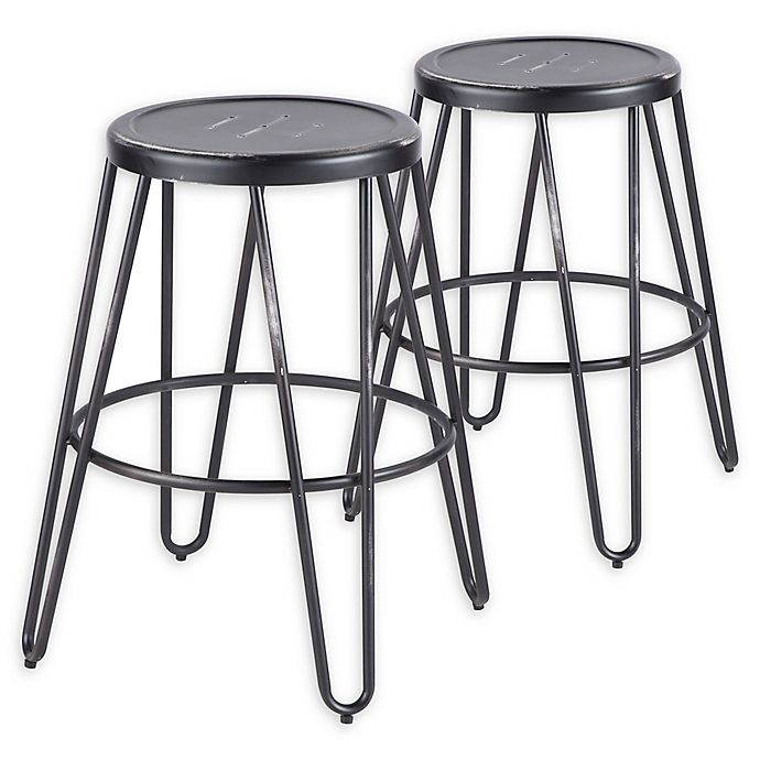 Alternate image 1 for LumiSource Avery Counter Stool Set in Vintage Black (Set of 2)