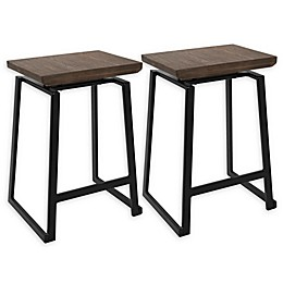 LumiSource Geo Counter Stool Set in Brown (Set of 2)