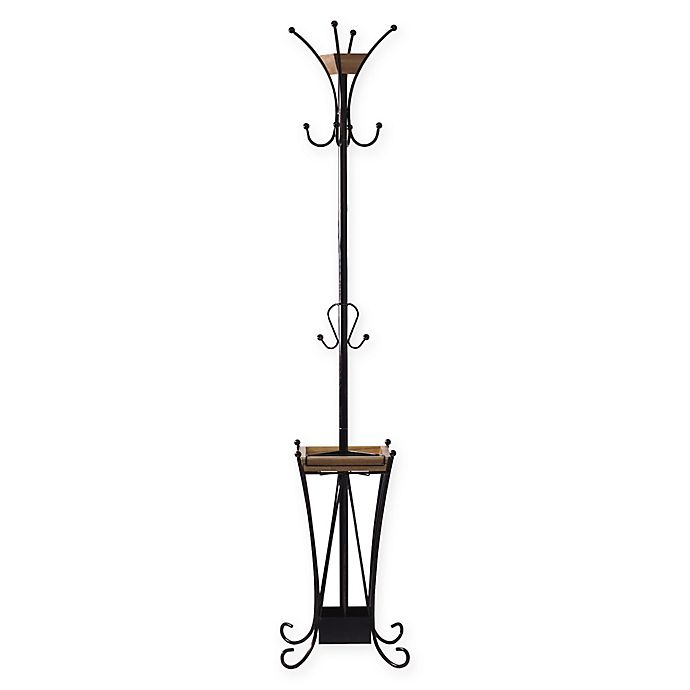 Artesa Steel And Wood Coat Rack With Umbrella Stand In Antique Black