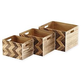 Wood Storage Crates with Chevron Pattern (Set of 3)