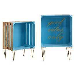 """Good Vibes"" Typography Storage Crates in Blue (Set of 2)"