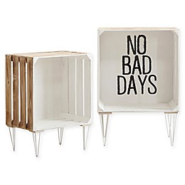 """No Bad Days"" Typography Storage Crates in White (Set of 2)"