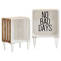 """No Bad Days"" Typography Storage Crates in White (Set of 2)"