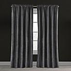 Velvet Plush Nest 84-Inch Rod Pocket/Back Tab Lined Window Curtain Panel in Gunmetal