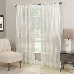 Stafford Semi-Sheer Rod Pocket Window Curtain Panel in Winter White