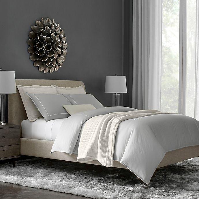 Alternate image 1 for Flatiron® Hotel Satin Stitch Full/Queen Duvet Cover in Grey/White
