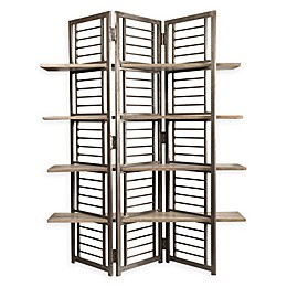 Yosemite Home Décor Bashi Folding Room Divider with Shelves in Tobacco