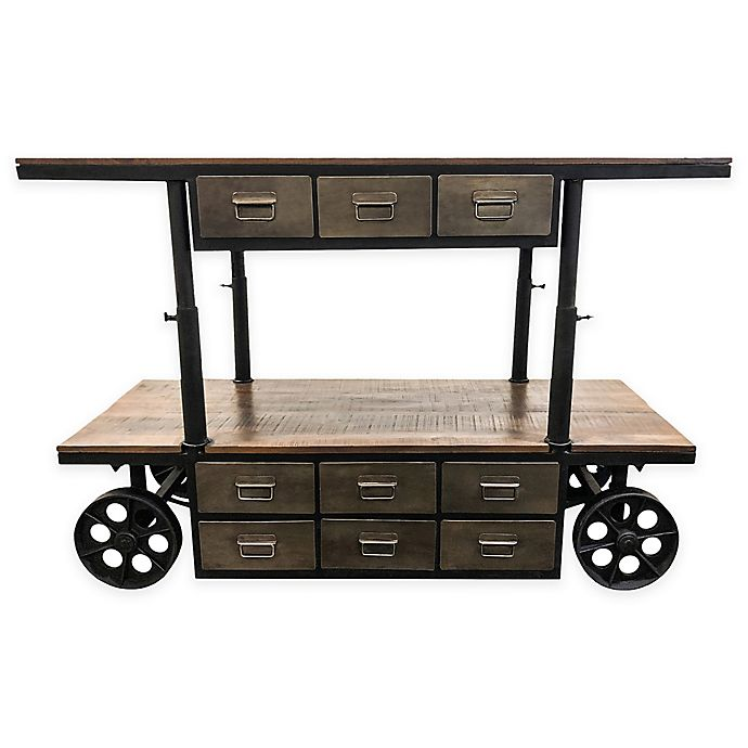 Alternate image 1 for Yosemite Home Décor Alynthi Mango & Iron Cart in Brown/Grey