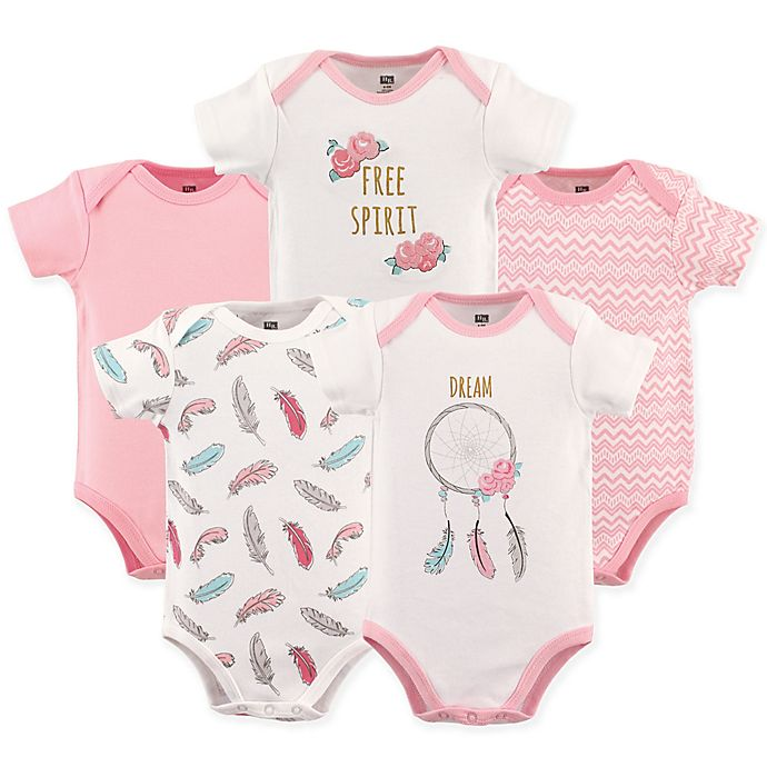 Alternate image 1 for Hudson Baby® Dream Catcher Short Sleeve Bodysuits in Pink