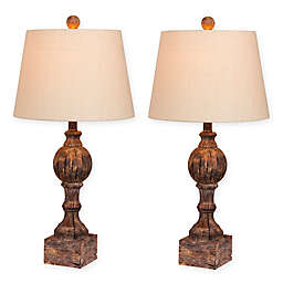 Fangio Lighting Distressed Sculpted Column Table Lamp